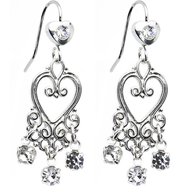 Clear Crystal Bleeding Hearts Chandelier Earrings