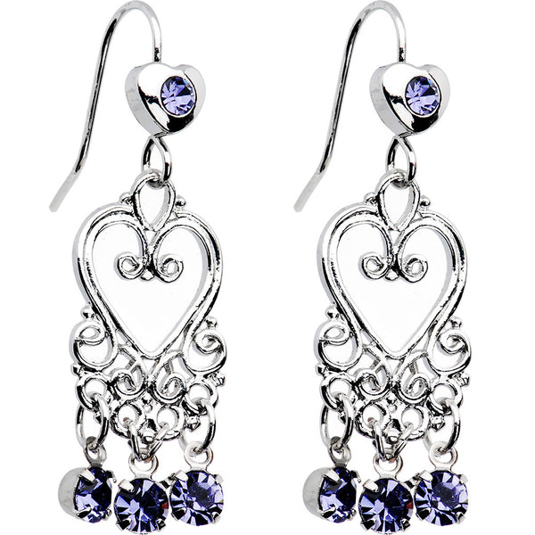 Tanzanite Crystal Bleeding Hearts Chandelier Earrings