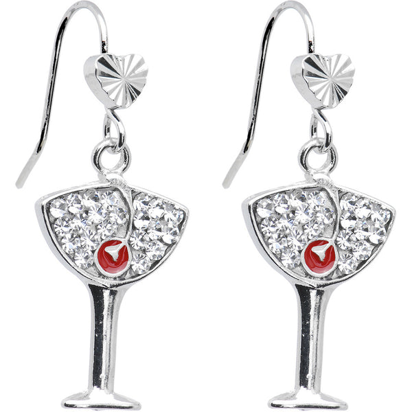 Clear Crystal Cherry Martini Glass Earrings