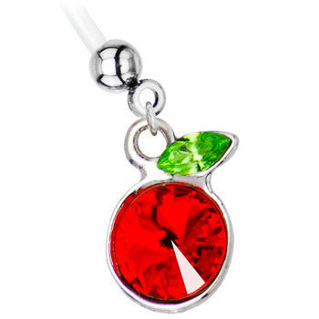 Ruby Red Gem Cherry Pregnant Belly Ring