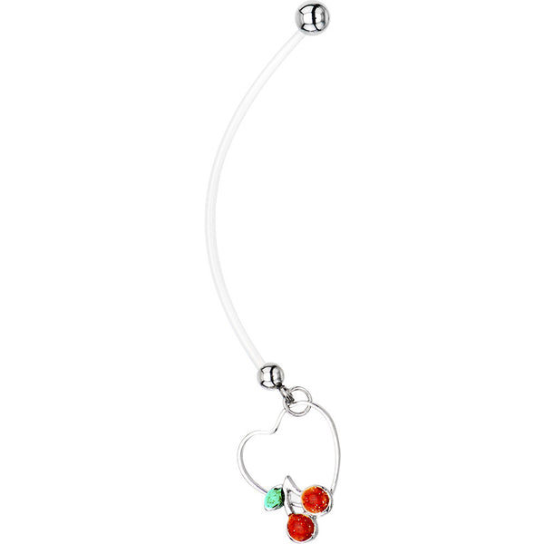 Ruby Red Gem Cherry Heart Pregnant Belly Ring