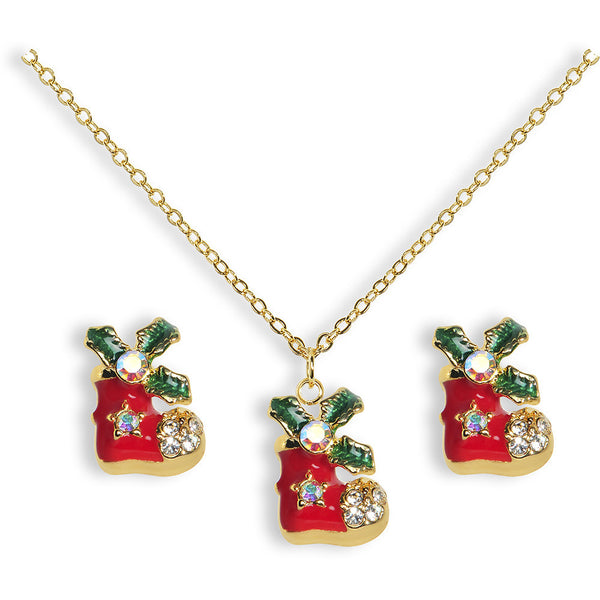 Gold Tone Gem Red Holiday Stocking Necklace and Stud Earrings Set