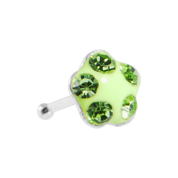 3.5mm Peridot Green Flower Ferido Crystal Nose Bone