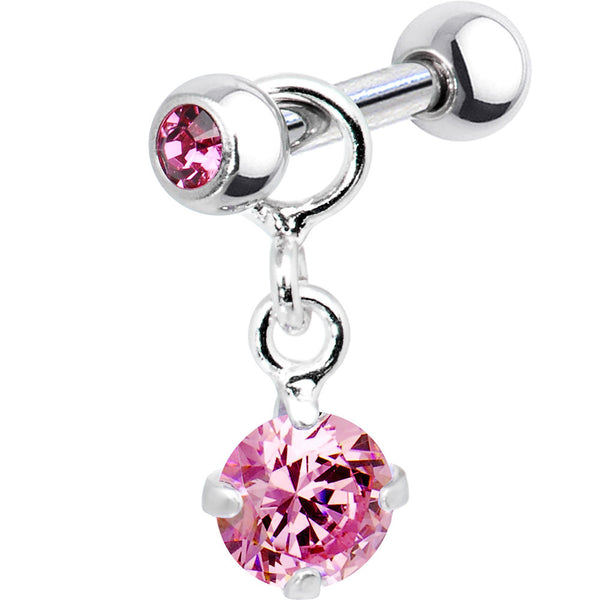 Silver 925 Pink Cubic Zirconia Dangle Cartilage Earring