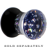 2 Gauge Black Neon Glitter Saddle Plug
