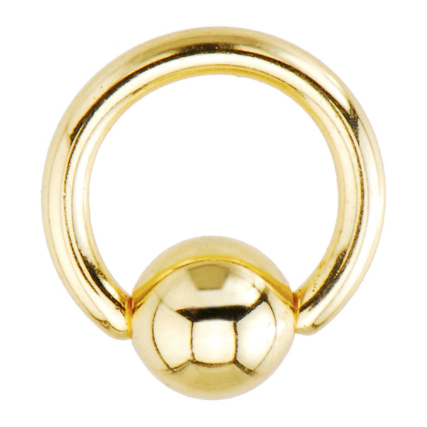 16 Gauge 1/4 Gold Electro Titanium BCR Captive Ring