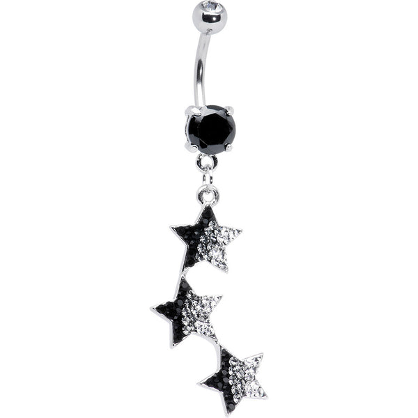 Black Cubic Zirconia Triple Star Drop Belly Ring