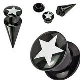 2 Gauge Star 2-in-1 Acrylic Screw Fit Interchangeable Plug Tunnel