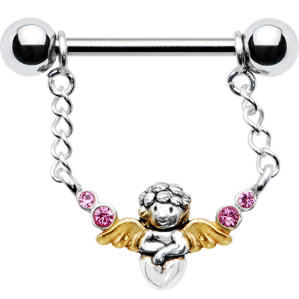 925 Gold Pink Angel Nipple Ring Created with Swarovski Crystals