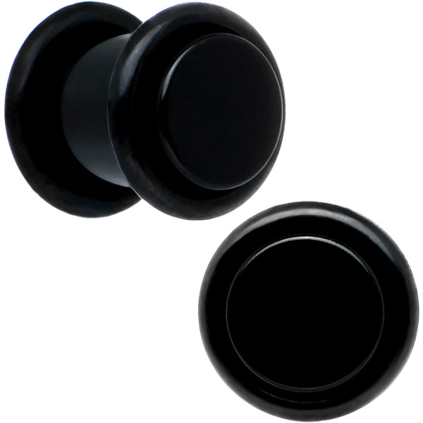 0 Gauge Black Acrylic Straight Plug Set