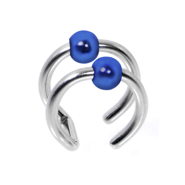 Illusion 2-Ring Steel Blue Non Pierced Clip On Ball Closure Ring
