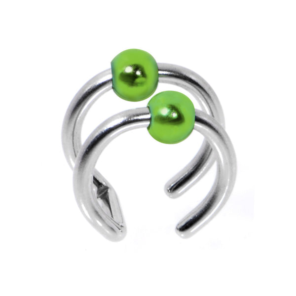 Illusion 2-Ring Steel Green Non Pierced Clip On Ball Closure Ring