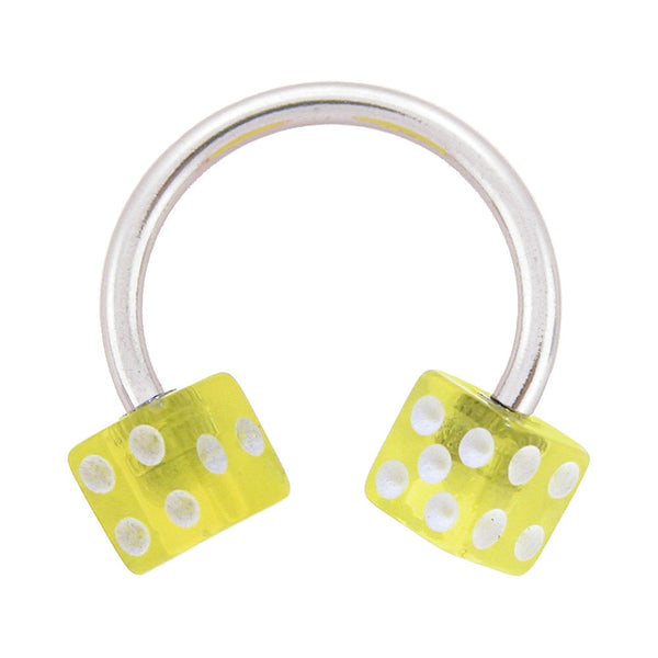 Yellow Dice Horseshoe Circular Barbell