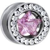00 Gauge Stainless Steel Pink Star CZ Screw Fit Tunnel