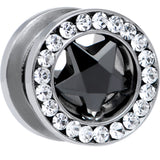 00 Gauge Stainless Steel Black Star CZ Screw Fit Tunnel