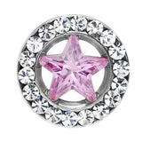 0 Gauge Stainless Steel Pink Star CZ Screw Fit Tunnel