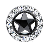 0 Gauge Stainless Steel Black Star CZ Screw Fit Tunnel
