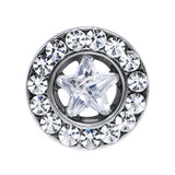 2 Gauge Stainless Steel Star CZ Screw Fit Tunnel
