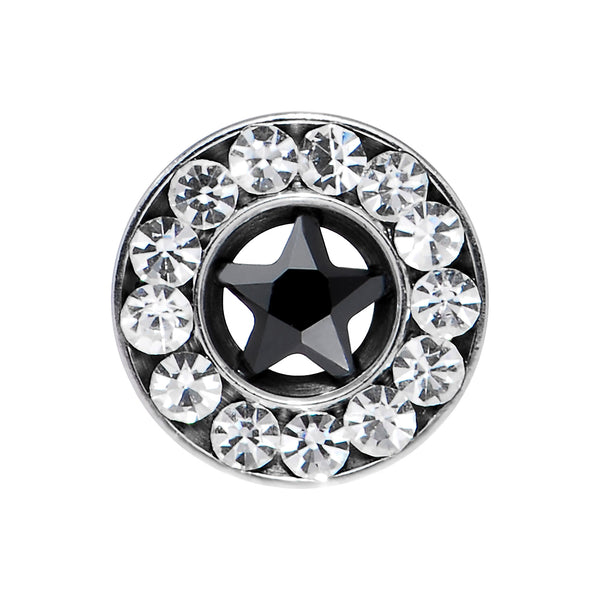 4 Gauge Stainless Steel Star Black CZ Screw Fit Tunnel