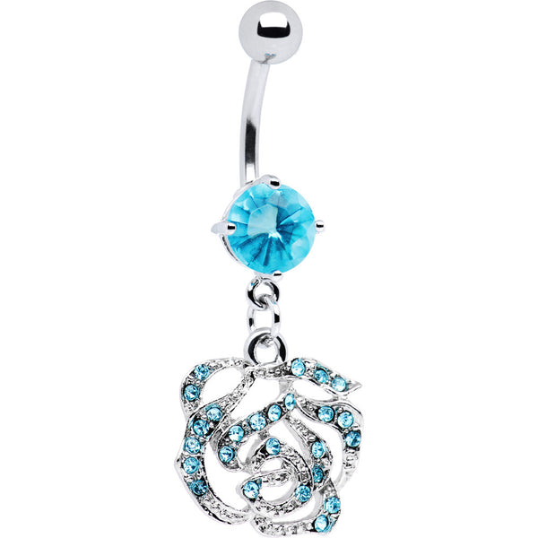 Aqua Jeweled Rose Belly Ring