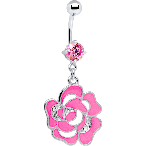 Pink Decorated Cubic Zirconia Flower Belly Ring