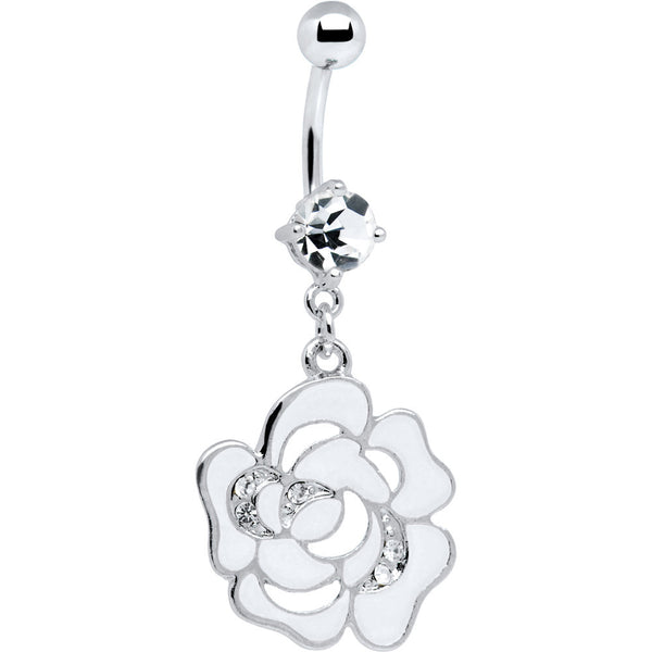 White Decorated Cubic Zirconia Flower Belly Ring