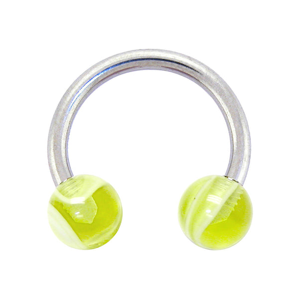 Yellow Marble Horseshoe Circular Barbell