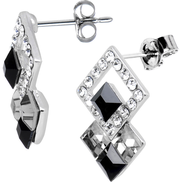 Black and Crystal Deco Design Earrings