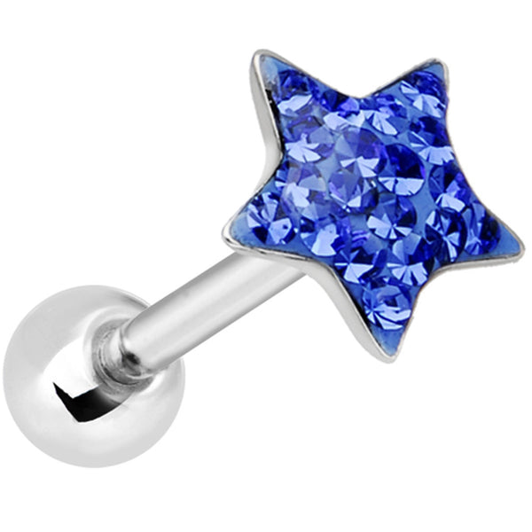 Dome Blue Star Gem Barbell Tongue Ring