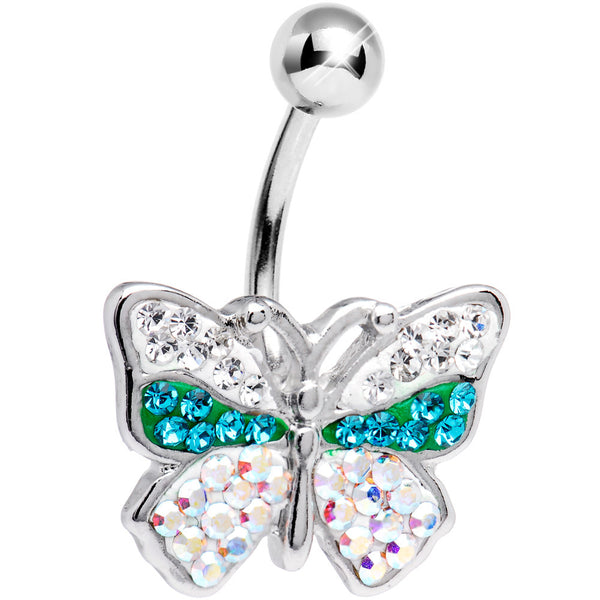 Aqua Blue Austrian Crystal Butterfly Belly Ring