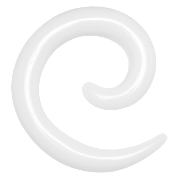 8 Gauge White Acrylic Spiral Taper