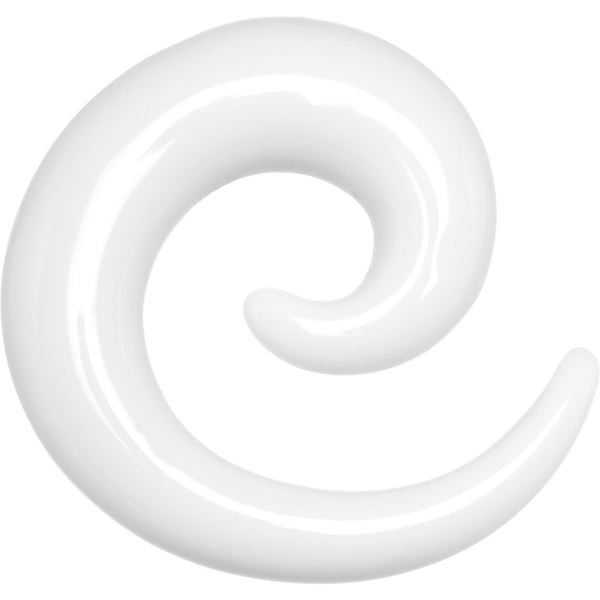 0 Gauge White Acrylic Spiral Taper