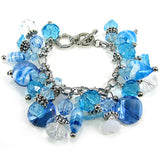 Artistic Bead Blue Shades Glass Charm Bracelet