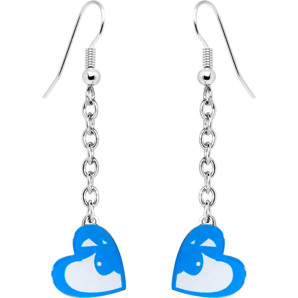 Playboy Bunny Blue Heart Drop Earrings