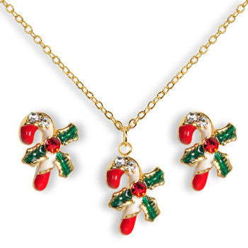 Gold Tone Gem Holiday Candy Cane Necklace and Stud Earrings Set