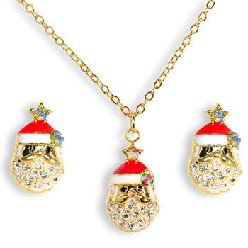 Gold Tone Gem Holiday Santa Claus Necklace and Stud Earrings Set