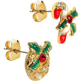 Gold Tone Gem Holiday Wreath Candy Cane Mixed Earring Set