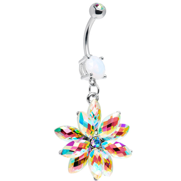 Stainless Steel Aurora Borealis Crystal Belly Ring