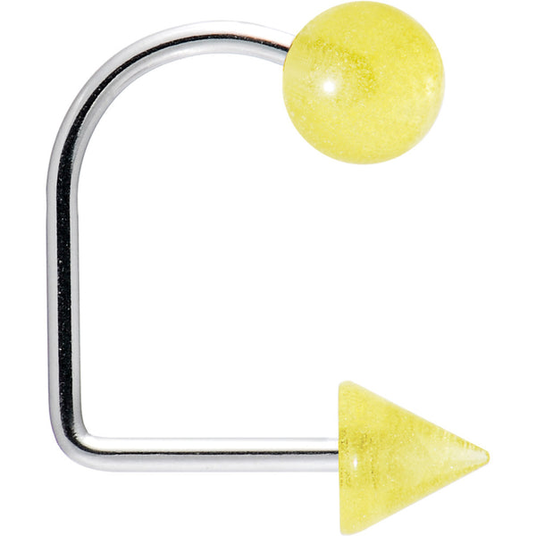 16 Gauge Yellow Acrylic Glow in the Dark Ball Cone Lippy Loop Labret