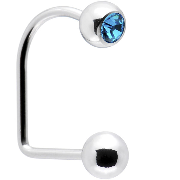 16 Gauge Surgical Steel Zircon Blue Gem Ball Lippy Loop Labret
