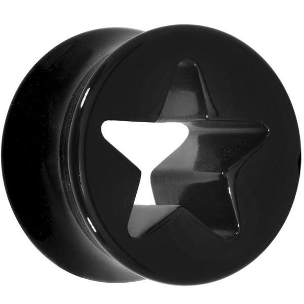 5/8 Black Acrylic Hollow Star Saddle Plug