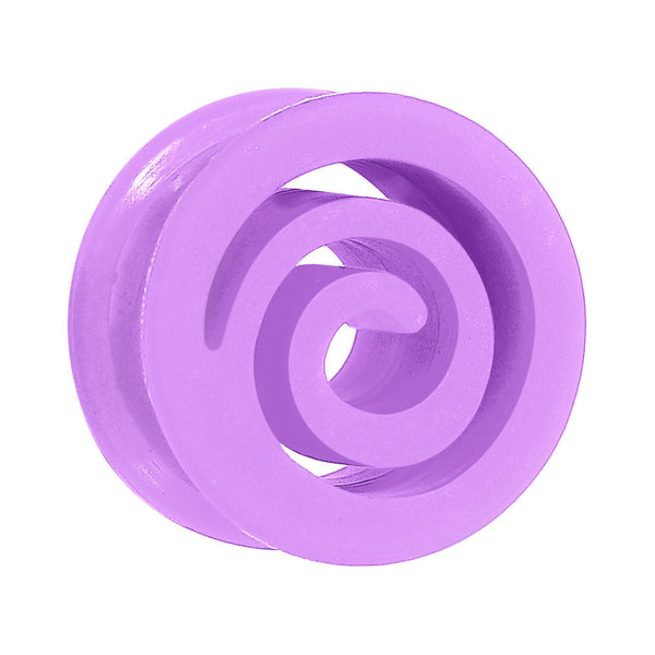 "7/8"" Purple Flexible Silicone Flat Spiral Plug"