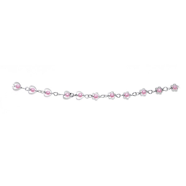 Pink Faux Pearl Blooming Floral Hearts Belly Chain