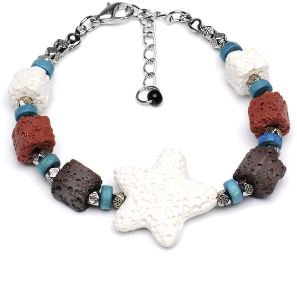 Natural Nautical Lava Bead Bracelet