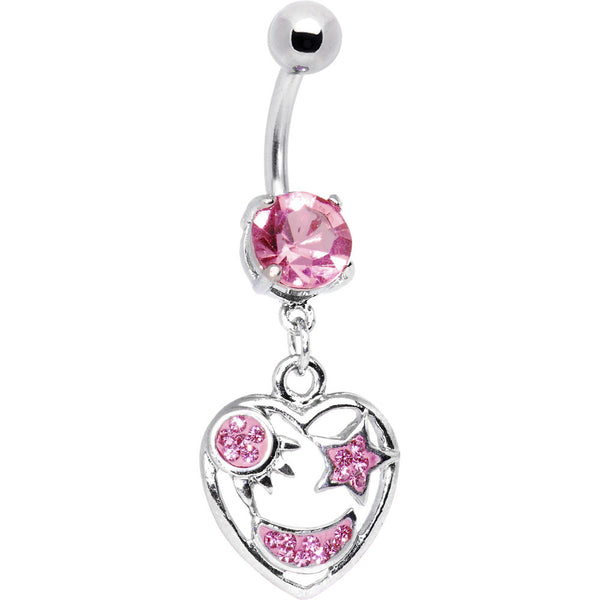 Sun Moon and Stars Pink CZ Belly Ring