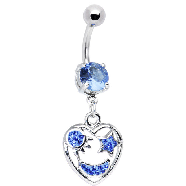 Sun Moon and Stars Blue CZ Belly Ring
