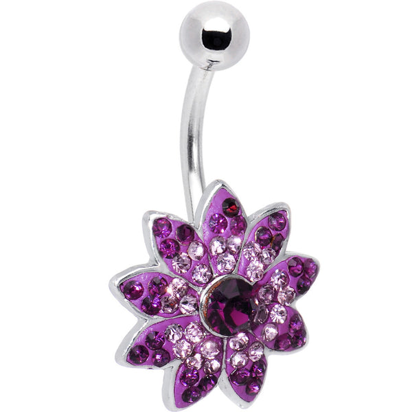 Blissful Blossom Purple CZ Belly Ring