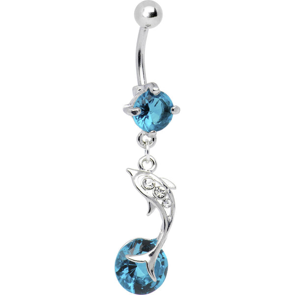 Leaping for Joy Dolphin Blue CZ Belly Ring