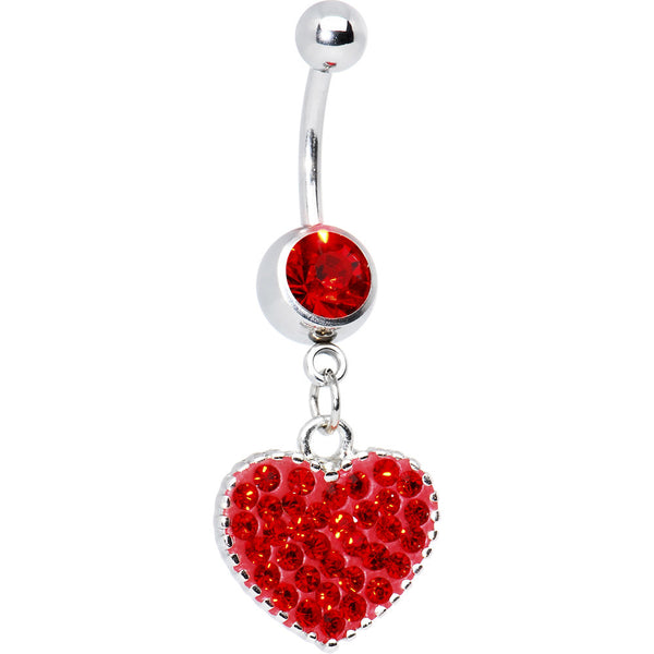 Love Yourself Red CZ Heart Belly Ring