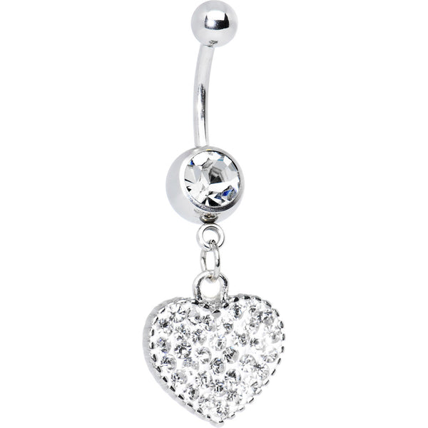 Love Yourself Crystalline Heart Belly Ring